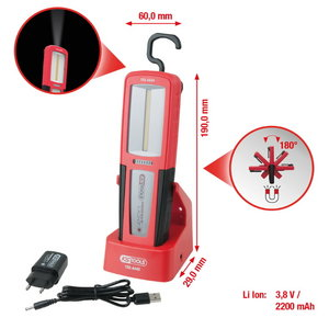 Hand Lamp LED with charging sation perfectLight 500lm, KS Tools