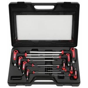 T-kuuskant võtmed 2-12mm palliga kmpl 9-osa kohvris, KS Tools
