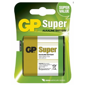 Baterijas 312A/3LR12, 4.5V, Super Alkaline, 1 gab., Gp