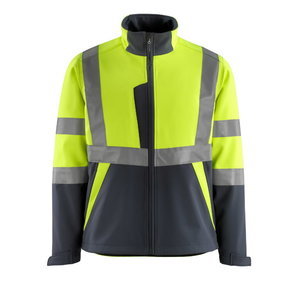 Softshell jakk Kiama kõrgnähtav CL2, kollane/t.sinine M, Mascot