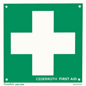 Sign, First Aid cross, double sided, CEDERROTH