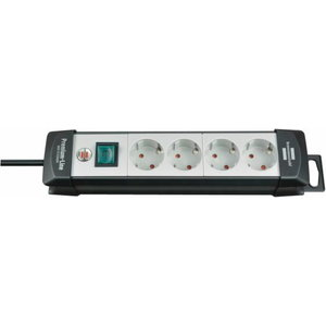 Extension socket 4-way black/lightgrey 5m H05VV-F 3G1,5, Brennenstuhl