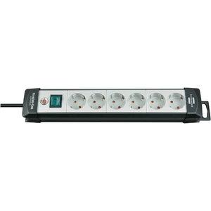 Extension socket 6-way black/lightgrey 5m H05VV-F 3G1,5, Brennenstuhl