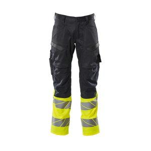Trousers 19679 stretch zones, hi-vis CL1, dark navy/yellow 82C50, Mascot