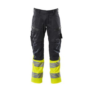 Trousers Accelerate Safe stretch zones, hivis CL1 yellow, Mascot