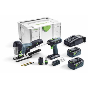 18V Combo: drill T 18+3 + jigsaw PSC 420 / 18V / 5,2Ah, Festool