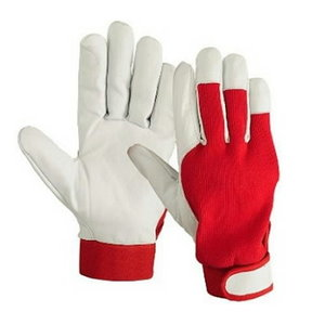 Gloves, big upper leather velcro snap blue cotton 11