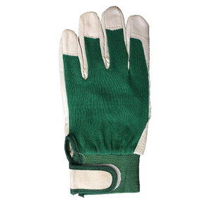 Gloves pigskin, green cotton back, 8