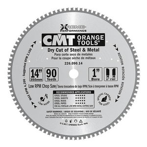 Saw blade for metal 355x2,2/25,4mm Z72 8°FWF, CMT