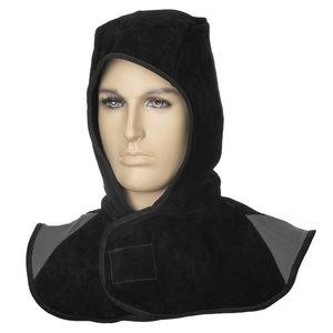 Hood, split leather, black XL, Weldas