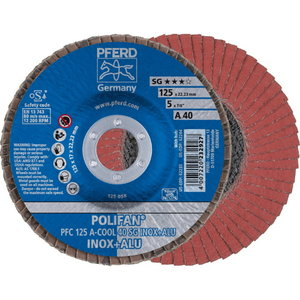 Lameļu slīpdisks 125mm P40 A-COOL SG INOX+ALU PFC, Pferd