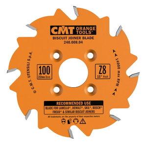 BISCUIT JOINER BLADE HW 100X3.96/3.1-3.8X22 Z8 FLAT, CMT