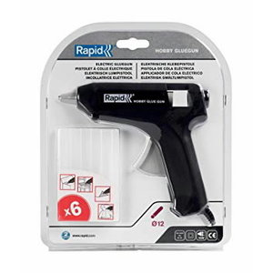 Klijų pistoletas Hobby 12mm + 6 skaidrūs klijai, Rapid