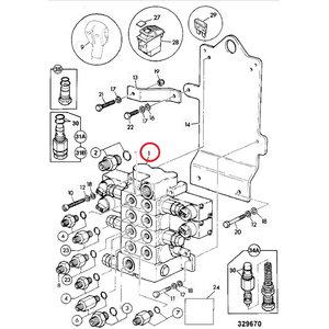 Blokas hidraulinių vožtuvų, 4-ių sekcijų, JCB