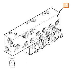 Vožtuvas hidraulinės sistemos, valdymo, kolektorius, JCB