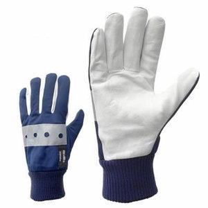 Gloves, goat skin, full lining and reflector on back, 9, Stokker