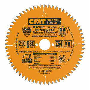 Saw blade for ALU HM 216x2,2/30mm Z64 a-6° ßTCG ITK-PLUS, CMT