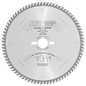 Sawblade for laminated panels 250x3.2x30mm Z80 a=10° TCG, CMT