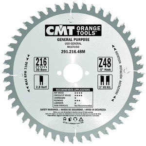 Saw blade for wood 216x2,8/30mm Z48 a=-5° Neg. b=15° ATB, CMT