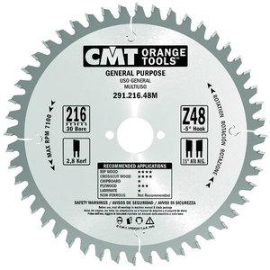 Pjovimo diskas 216x2,8/30mm Z48 a=-5° Neg. b=15° ATB, CMT