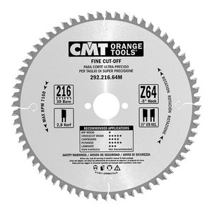 Fine cut saw blade for wood 216x30mm Z80 a-5° Neg. ß15° ATB, CMT