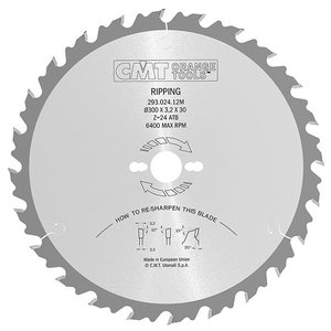 Saw blade for wood HM 315x2,8x30mm Z28 a20° ß10°ATB, CMT
