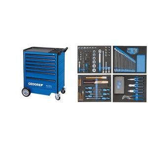 Įrankių vežimėlis su 7 stalčiais ir  įrankiais (147 ), Gedore