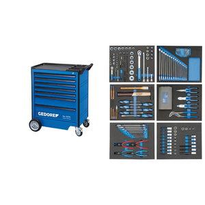 Įrankių vežimėlis su 7 stalčiais ir  įrankiais 190 vnt, Gedore