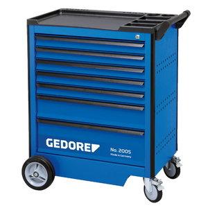 Įrankių vežimėlis su 7 stalčiais ir  įrankiais (308 vnt), Gedore