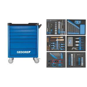 Įrankių vežimėlis su 7 stalčiais ir  įrankiais190 vnt, Gedore