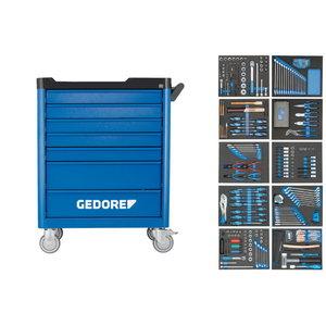 Įrankių vežimėlis su 7 stalčiais ir  įrankiais  (308 vnt)