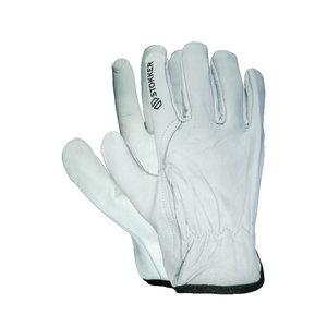 White premium goatskin drivers glove, rubberized back, Stokker