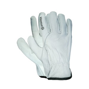 White premium goatskin drivers glove, rubberized back 11, Stokker
