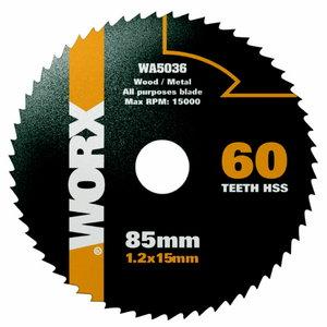 Zāģa asmenis HSS, z60, 85mm. WX423, Worx