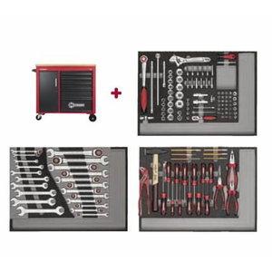 Tööriistakäru MECHANIC, 6 sahtlit ja panipaik + 130 tööriist, Carolus