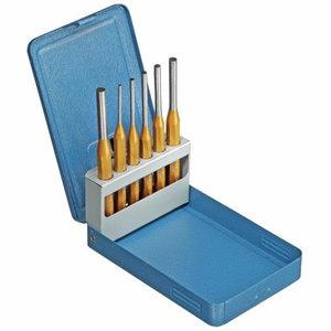 pin punch set 3-8mm, 6pc, metal case