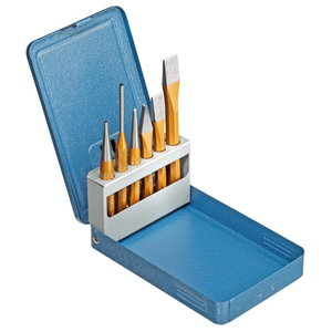 Pin punch and chisel set 6 pieces in metal case