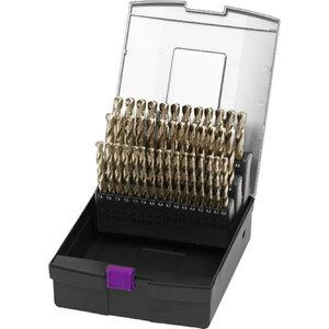 Grąžtų rinkinys 51 vnt., 1 - 6 mm (0.1 mm rising), Optimum