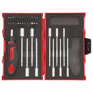 Įrankių kompl. T-rankena su terkšlė 1/4, 37vnt R49005037  Atsuktuvo antg, Gedore RED