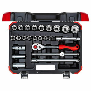 Socket set 1/2 size10-32mm 24pcs R69003024, Gedore RED