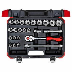 Socket set 1/2 size10-32mm 24pcs R69013024, Gedore RED