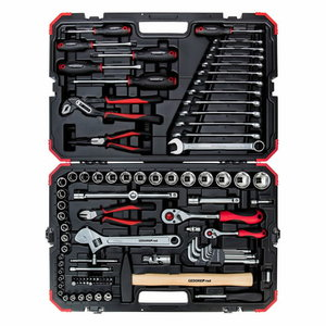 Socket set 1/4+1/2 size10-32mm 100pcs R46003100, Gedore RED