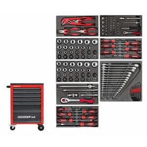 Įrankių vežimėlis+įrank. MECHANIC raudonas, 119vnt R21560001, Gedore RED