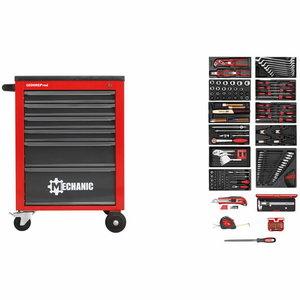 Įrankių vežimėlis+įrank. MECHANIC raudonas, 166vnt R21560002  du fiksuoti 14, Gedore RED