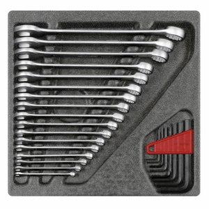 Kombinuotų ir L-raktų kompl. 4/6 CT dėkle, 26vnt R22250000, Gedore RED