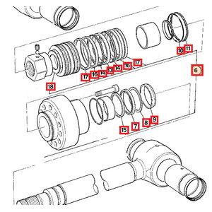 Riebokšlių rinkinys, hidraulinio cilindro, JCB