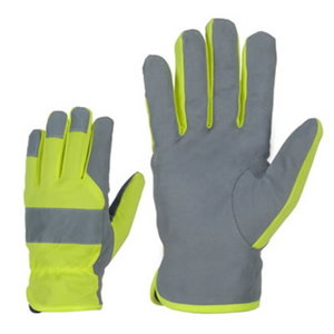 Winter gloves, synthetic leather, fleece lining, reflectors