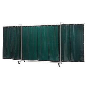 Raamiga keevituskardin 4,35x2,1m, roheline, ratastega