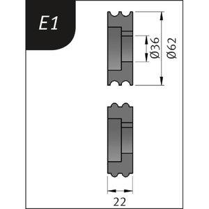 Lenkimo ritinėliai Typ E1, Ø 62 x 36 x 22 mm