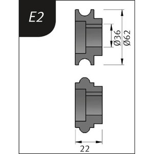 Lisarullikud sikemasinale E2, Ø62x36x22mm, Metallkraft